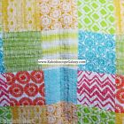 TURQUOISE YELLOW LIME GREEN ORANGE  WHITE FULL QUEEN QUILT PATCHWORK COLORFUL