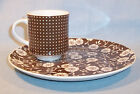 Vintage Set-Brown Calico-4 Snack Plates with 4 Coffee Cups-CALICOT by SHAFFORD