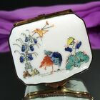 Chantilly France Porcelain Trinket Box HEDGEHOG COUPLE FROLICKING UNDER FLOWERS