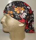black red white flowers chemo therapy hair loss head wrap cover turban scarf wig
