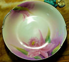 RARE Pre-1938 Noritake Platinum Lipped Hand Painted Bowl  Pink Orchids, Pristine