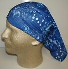 Blue white mummery chemo therapy hair loss head wrap cover turban scarf wig