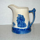 Large #5 One Gallon Blue & White Pottery Sleepy Eye Pitcher Western Monmouth ILL