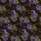RJR Fabrics Debbie Beaves Lovely 1446 01 Pansy Toss Black By the Yard