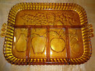 VINTAGE INDIANA AMBER DEPRESSION DIVIDED FRUIT RELISH  PLATTER