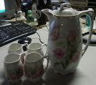 ANTIQUE GERMAN HOT CHOCOLATE POT & 4 MATCHING CUPS