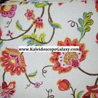 FLORAL KING QUILT 4pc ~ RED PINK ORANGE YELLOW BLUE GREEN BIRDS REVERSIBLE