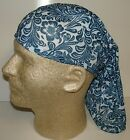 blue white filigree chemo therapy hair loss head wrap cover turban scarf wig