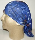 blue white paisley chemo therapy hair loss head wrap cover turban scarf wig