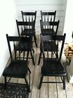 Black painted windsor chairs, set of 6, made in PA in early 1800's