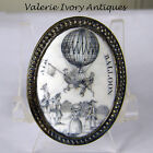 Hot Air Balloon Ascension 18th C  Battersea Bilston Enamel - Cloak Pin
