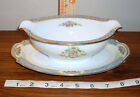 Noritake Blue Chevonia Occupied Japan Gravy Boat with Underplate Vintage