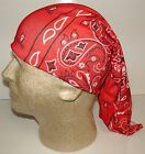 red white black paisley chemo therapy hair loss head wrap cover turban scarf wig