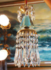 1of4 Vintage SWAG plugin Blue aqua Brass hanging lamp chandelier crystal prisms