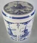 Holland DELFT BLUE Pottery Canister Jar w/Lid 7 WINDMILLS
