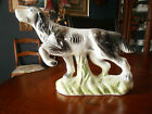 Antique  Porcelain black & white  Dog Figurine High Gloss-made in Italy