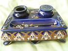 Limoges France Porcelain Ink Stand Encrier Hand painted Art Nouveau Gold on Blue