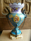 Lg CONTINENTAL PORCELAIN TURQUOISE HAND-PAINTED MANTLE URN VASE  Antique Ornate