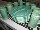 HOLIDAY WARE HAND DRIPPED GLAZED LUNCHEON SET 15 PCS GREEN MADE IN JAPAN