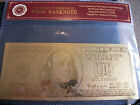 10 USA $100 BANK NOTES 24K plated pure gold-C.O.A. S!   MORE AVAIL.!