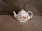 Teapot Ellgreave Genuine Ironstone colorful floral butterfly gold trim design