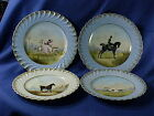 4 Antique Haviland Limoges Equestrian Lady Rider plates horses painted porcelain