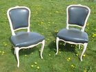 Antique Louis XV Pair French Chairs Authentic Blue White Painted Carved Wood