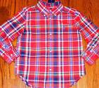 POLO RALPH LAUREN ORIGINAL BABY BOYS BRAND NEW RED DRESS SHIRT TOP Size 9M NWT
