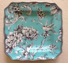 222 Fifth Adelaide Turquoise Square Salad Plates Set Of 4 Toile Birds Floral