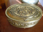 Antique Vtg Brass Jewelry Trinket Box High Relief Footed Red Jennings Bros JB