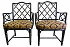 Chinese Chippendale Faux-Bamboo Armchairs, Pair | Hollywood Regency Mid-Century