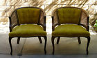 Vintage~Barrel Back~Caned Arm Chairs~Gold Velvet Upholstery~Wood Frame