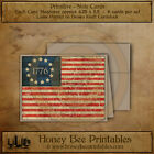Primitive Note Cards - Brown Kraft with envelopes - 1776 Flag Americana 13 Star