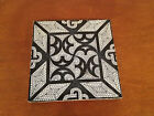 Antique Mintons China Works Stoke on Trent Tile Dark Blue & White Geometric Dec.