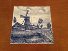 Likely Vintage Delft Blauw Blue & White Tile w/ Hand Painted Windmill Decoration