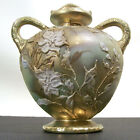 Antique Nippon MORIAGE WHITE ORCHID DOUBLE HANDLED GILT CABINET VASE