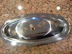Covered Silver  Serving Tray W/Floral Gold Plated Accents/Hardware