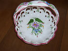 Vintage  PORTUGAL PORCELAIN Fruit HANDLE Basket NUMBERED Display Bowl DISH