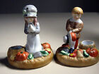 House of Lloyd Giving Thanks 1988 Pilgrim Taper Candle Holders Set of 2 Figures