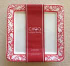 Ciroa Red And White Scroll Velluto Square Appetizer Plates Set Of 4