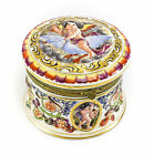 Capodimonte Porcelain Trinket Box c1920 Hand Painted Gilt Winged Cherub / Cupid