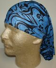 fancy blue black design chemo therapy hair loss head wrap cover turban scarf wig