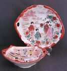 Antique Geisha Girl Dish and Plate Slotted Handles