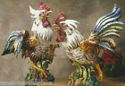 INTRADA Italian Ceramic Fighting Rooster Pair Figurine Statue Handmade in Italy