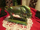 ZSOLNAYGreen  Eosin Bull  Figurine Porcelain Large