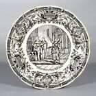 Antique French Porcelain Plate, Digoin & Sarreguemines, Joan of Arc, Late 19th c