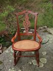 ANTIQUE CANE SEAT ROCKER  FURNISHINGS HOME  (PICK-UP ONLY BUYER SUPPLIES CARRIER