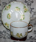 Vintage   Cup  and   Saucer   Bavaria   W. Germany   Yellow   Rose   Pattern