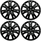 4 Pc Set of 16 Matte Black Hub Caps for OEM Steel Wheel Cover Center Cap Covers