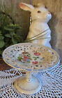 BEAUTIFUL Vintage Hand Painted Tazza Pedestal Pastry Dessert Plate Italy NICE